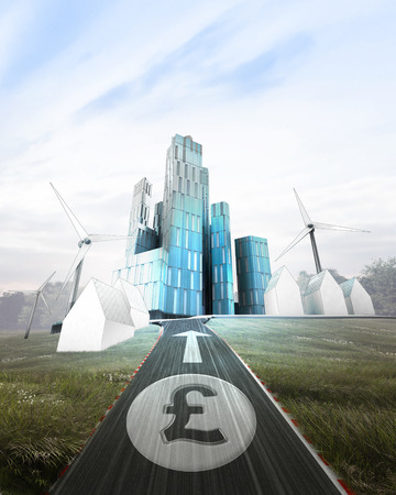 futuristic business city with painted Pound coin on road illustration illustration