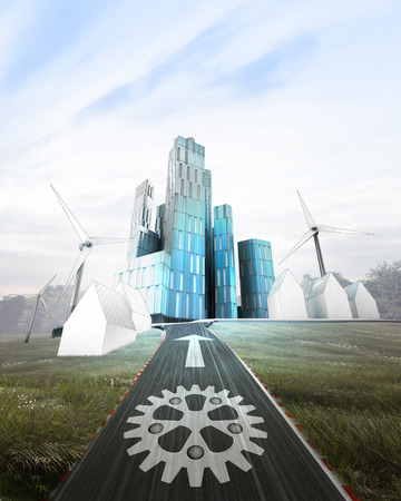 futuristic business city district with painted cogwheel on road illustration illustration