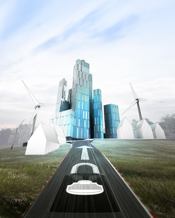 futuristic business city district with safety highway  illustration illustration