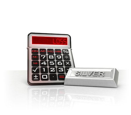 merchandise: silver merchandise with negative business calculations  isolated on white illustration Stock Photo