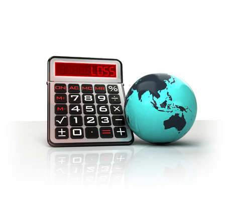 exchange loss: Asia globe with negative business calculations  isolated on white illustration Stock Photo