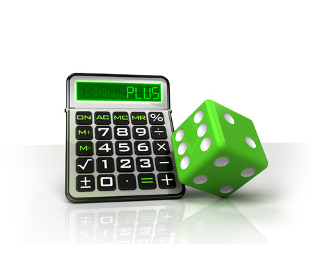 green dice with positive business calculations isolated on white illustration illustration