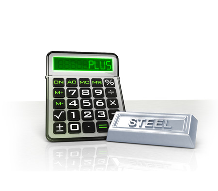 merchandise: steel merchandise with positive business calculations isolated on white illustration Stock Photo