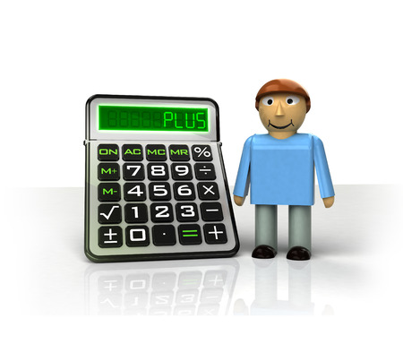 standing man with positive business calculations isolated on white illustration illustration