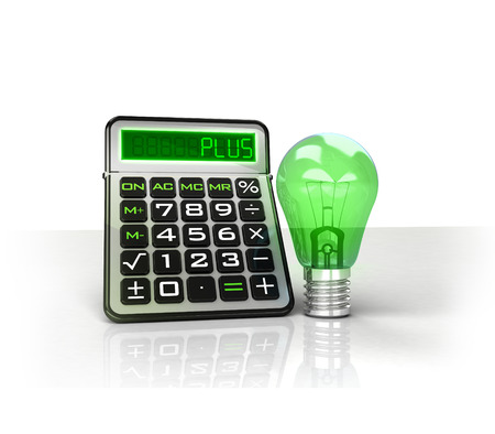 green lightbulb with positive business calculations isolated on white illustration illustration