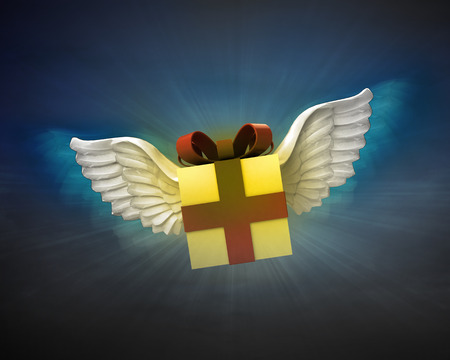 gift box with angelic wings flight in dark sky illustration illustration