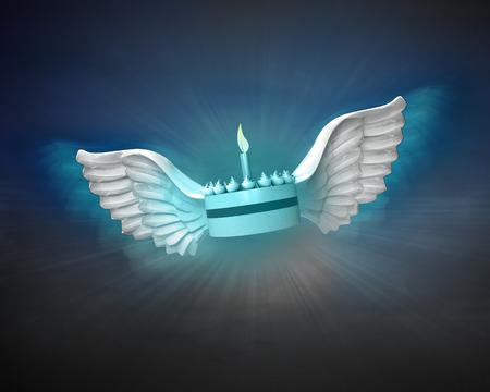 night shift: fancy cake with angelic wings flight in dark sky illustration