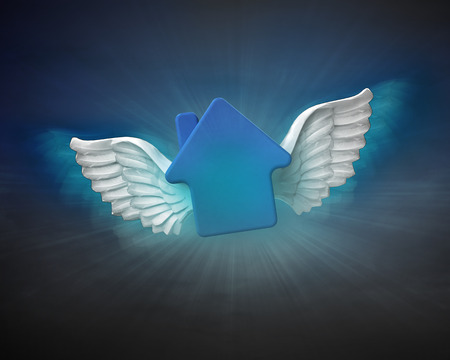 house with angelic wings flight in dark sky illustration illustration