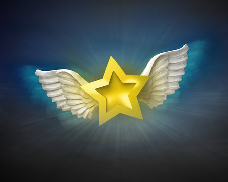 golden star with angelic wings flight in dark sky illustration illustration