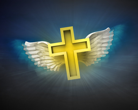 christian cross and wings: golden cross with angelic wings flight in dark sky illustration Stock Photo