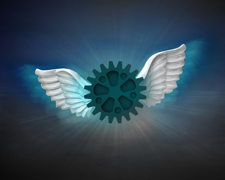 industrial wheel with angelic wings flight in dark sky illustration illustration