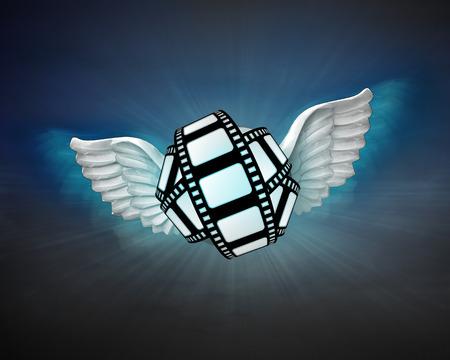 movie tape with angelic wings flight in dark sky illustration illustration
