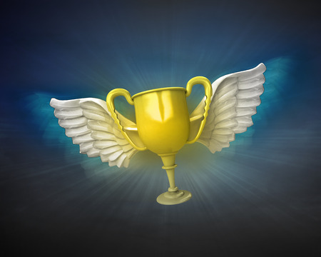 night shift: champion cup with angelic wings flight in dark sky illustration