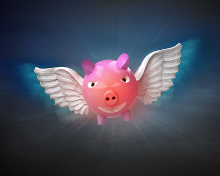 pig with wings: happy pig with angelic wings flight in dark sky illustration Stock Photo