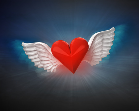 love heart with angelic wings flight in dark sky illustration illustration
