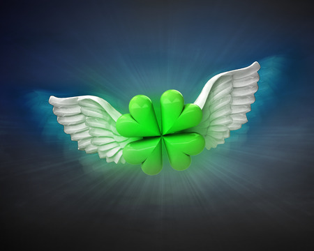 cloverleaf happiness with angelic wings flight in dark sky illustration