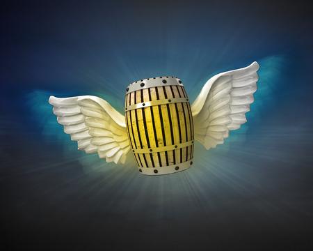 night shift: beverage keg with angelic wings flight in dark sky illustration