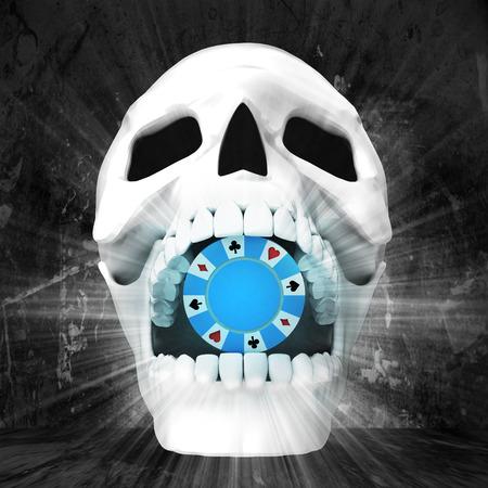 human skull with in jaws on grunge illustration illustration