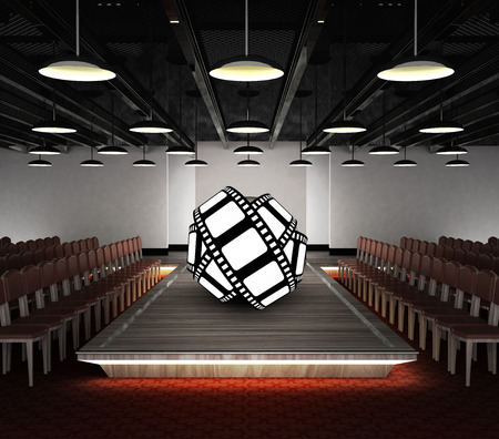 movie tape roll situated on fashion exhibition podium concept illustration illustration
