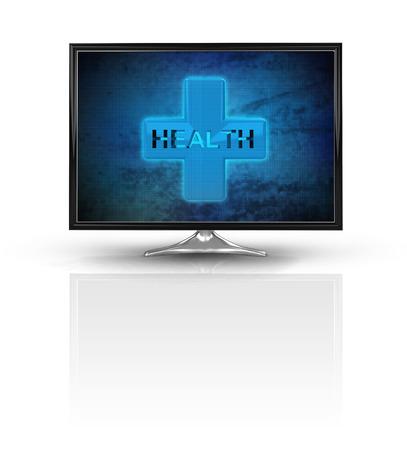 magic health cross on blue new modern screen isolated on white illustration Stock Photo