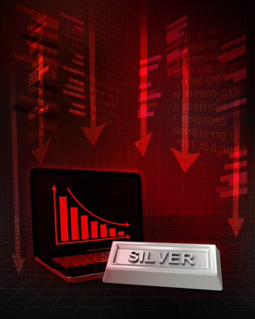 silver commodity with negative online results in business illustration illustration
