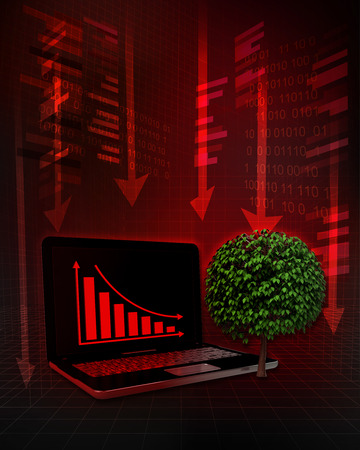 leafy tree with negative online results in business illustration illustration