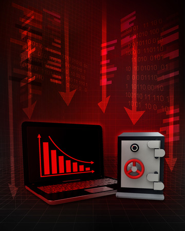 trade secret: bank vault with negative online results in business illustration