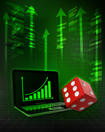 lucky dice with positive online results in business illustration illustration