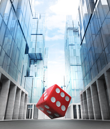 red fortune dice in new modern business city street illustration illustration