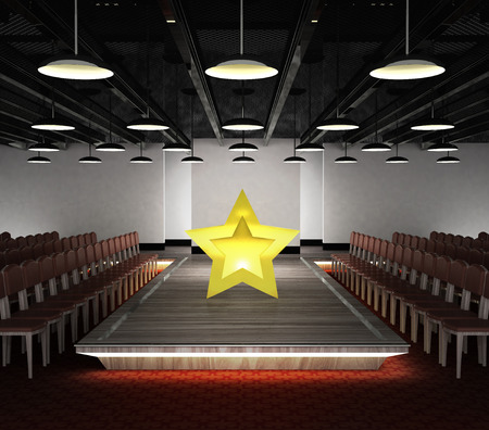 golden star situated on fashion exhibition podium concept illustration illustration