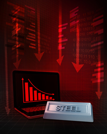 steel commodity with negative online results in business illustration illustration