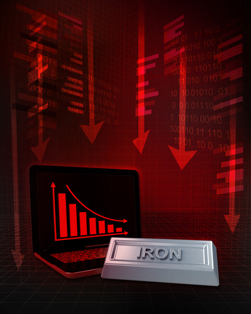 exchange loss: iron commodity with negative online results in business illustration Stock Photo