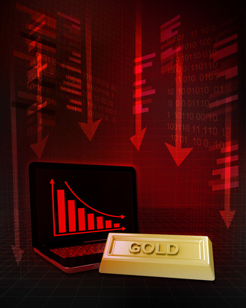 gold commodity with negative online results in business illustration Stock Illustration - 26652717