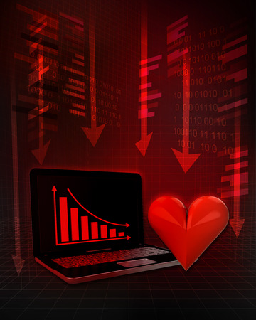 exchange loss: red heart with negative online results in business illustration
