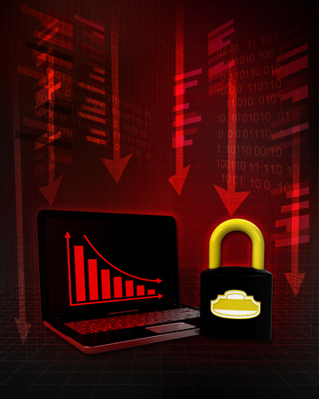 exchange loss: closed padlock with negative online results in business illustration Stock Photo