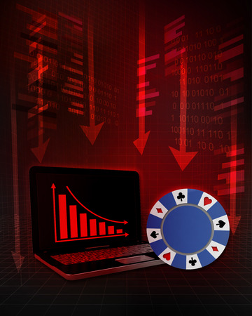 poker chip with negative online results in business illustration illustration