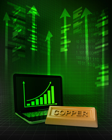 copper commodity with positive online results in business illustration illustration