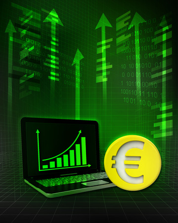 Euro gold coin with positive online results in business illustration illustration