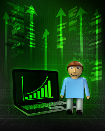 standing man with positive online results in business illustration illustration