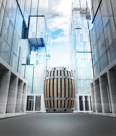 beverage keg in new modern business city street illustration illustration