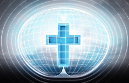 technic: religion cross stuck in energy capsule as science project illustration
