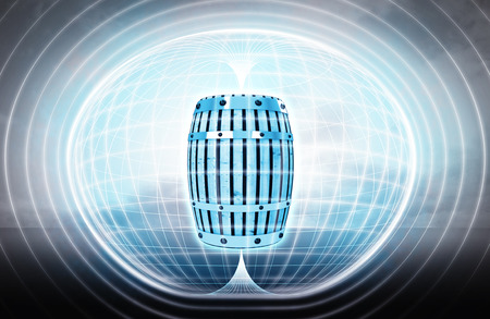tun: beverage keg stuck in energy capsule as science project illustration Stock Photo