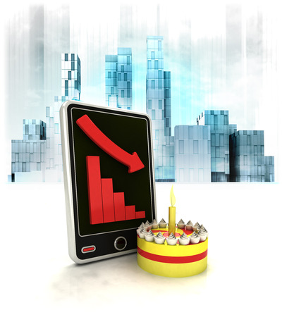 exchange loss: fancy cake with negative online results in business district illustration Stock Photo