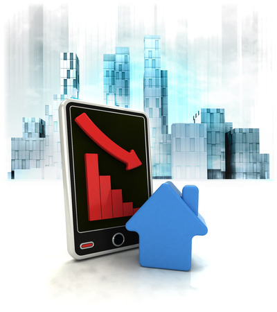 business district: real estate stock with negative online results in business district illustration Stock Photo