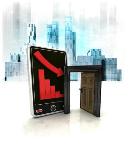 exchange loss: opened door with negative online results in business district illustration