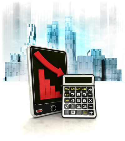 business district: calculator with negative online results in business district illustration Stock Photo
