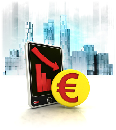 exchange loss: Euro gold coin with negative online results in business district illustration