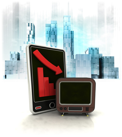 exchange loss: retro television with negative online results in business district illustration