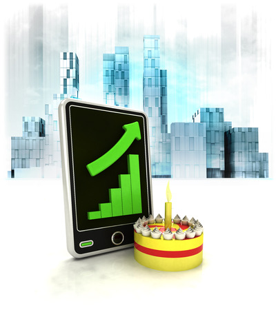 metropole: celebration cake with positive online results in business district illustration Stock Photo