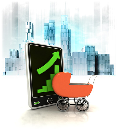 metropole: baby buggy with positive online results in business district illustration